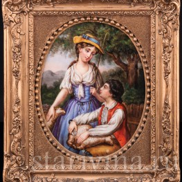 """Картина на фарфоре """"Пастораль"""", Германия, кон. 19 в"""