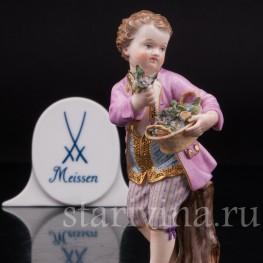Фарфоровая статуэтка Мальчик с корзиной цветов, Meissen, Германия, сер. 19 - нач. 20 вв.